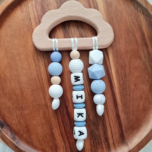 Babygeschenk personalisiert mit Name Greifling Beissring blau Wolke Regen Holz Silikon Geburt Taufe Babyshower