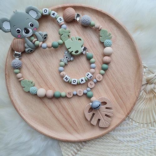 Set Babygeschenke Geschenkset personalisiert Koala olive Holz Silikon Wunderdinge