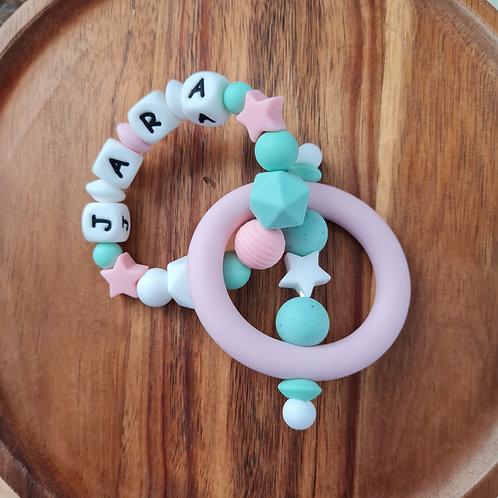 Babygeschenk personalisiert mit Name Greifling Beissring rosa türkis Stern Silikon Geburt Taufe Babyshower