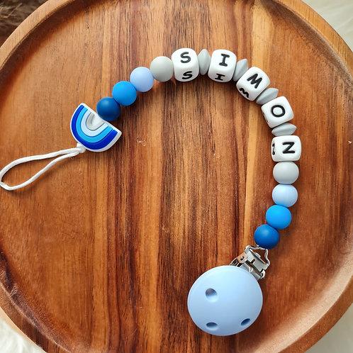Geschenk Baby personalisiert mit Name Nuggikette Schnullerkette blau Regenbogen Silikon Geburt Taufe Babyshower