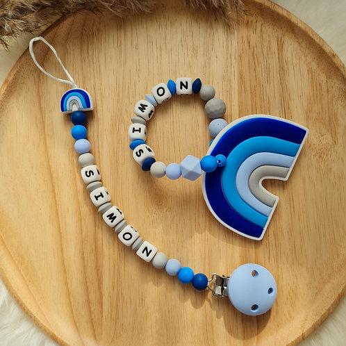 Baby Geschenkset personalisiert mit Name Nuggikette Schnullerkette Greifling Beissring blau Regenbogen Silikon Geburt Taufe