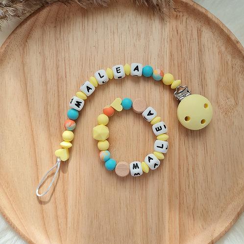 Baby Geschenkset personalisiert mit Name Nuggikette Schnullerkette Greifling Beissring gelb Sonne türkis Silikon Geburt Taufe