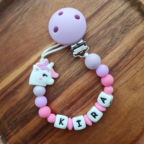 Nuggikette Schnullerkette personalisiert mit Namen Einhorn lila pink Silikon Babygeschenke Wunderdinge