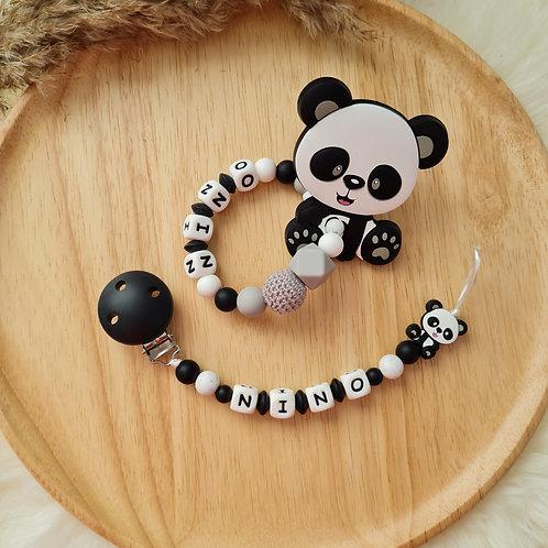Set Babygeschenke Geschenkset personalisiert mit Namen Panda schwarz weiss Silikon Wunderdinge
