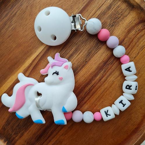 Beisskette personalisiert mit Namen Einhorn lila pink weiss Silikon Babygeschenke Wunderdinge