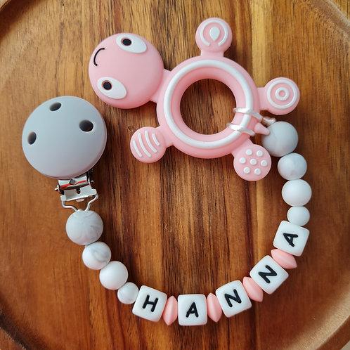 Beisskette personalisiert mit Namen rosa Marmor Silikon Schildkröte Babygeschenke Wunderdinge