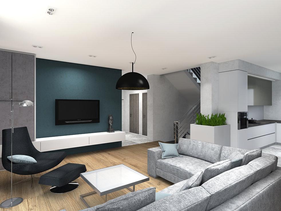 Уютная гостиная со встроенным  камином