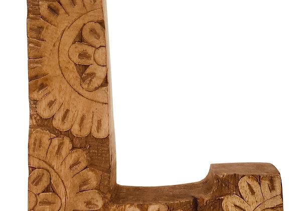 Hand Carved Wooden Flower Letter L
