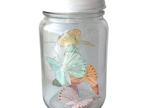 Butterfly Led Light Chain In Glass Jam Jar - Multicoloured