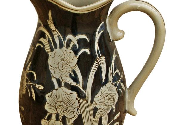 Ceramic Embossed Jug Style Vase, Regal Design