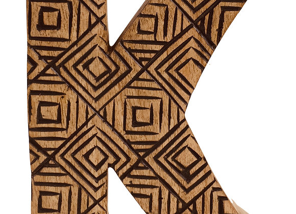 Hand Carved Wooden Geometric Letter K