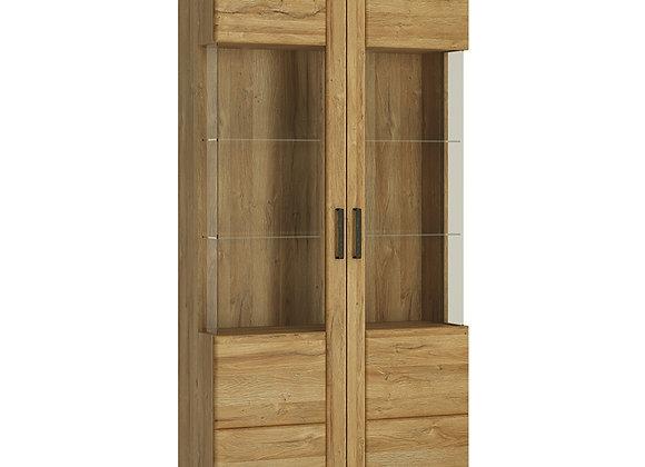Tall wide 2 door glazed display cabinet