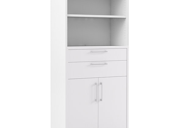 Prima Bookcase 4 Shelves with 2 Drawers and 2 Doors in White