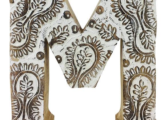 Hand Carved Wooden White Flower Letter M