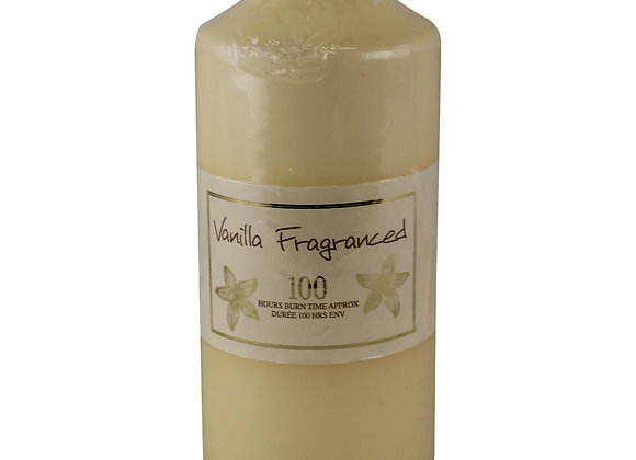 100 Hour Burn Time Pillar Candle, Vanilla Fragrance