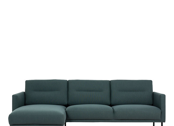 Larvik Chaiselongue Sofa (LH) - Dark Green , Black Legs