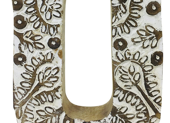 Hand Carved Wooden White Flower Letter U