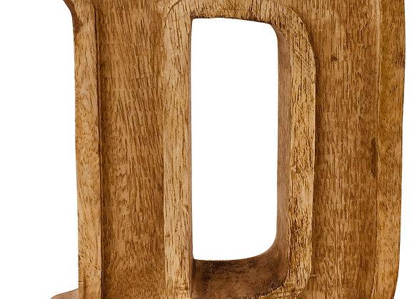 Hand Carved Wooden Embossed Letter D