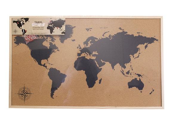 Framed Travel Corkboard Map, 90x60cm