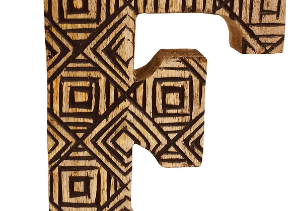 Hand Carved Wooden Geometric Letter F