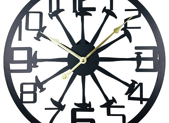 Black Metal Hammer Cut Out Wall Clock 40cm