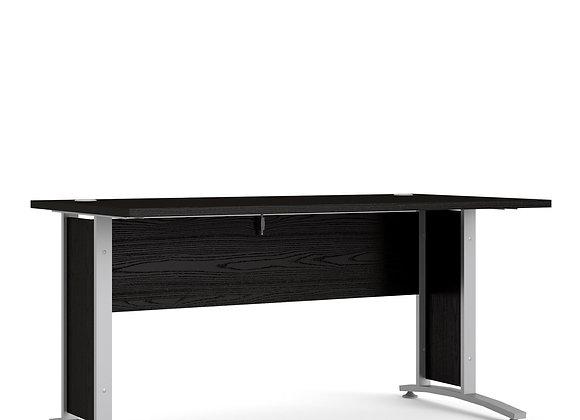 Prima Desk 150 cm in Black woodgrain with Silver grey steel legs