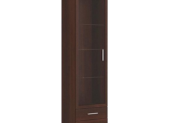 Tall Glazed 1 Door 2 Drawer Narrow Cabinet