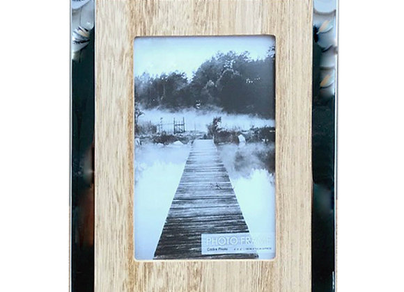"""Wood And Silver Coloured Photo Frame 4"""" X 6"""""""
