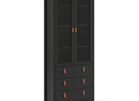 Barcelona China cabinet 2 doors w/glass + 3 drawers in Matt Black