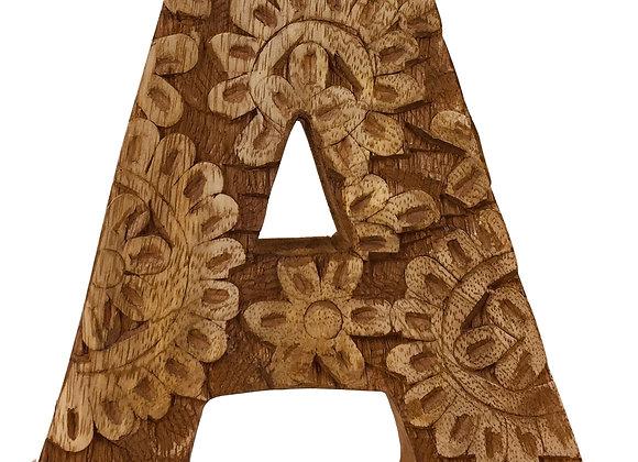 Hand Carved Wooden Flower Letter A
