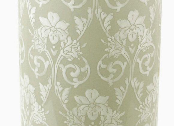 Ceramic Embossed Umbrella Stand, Grey/White Floral Design
