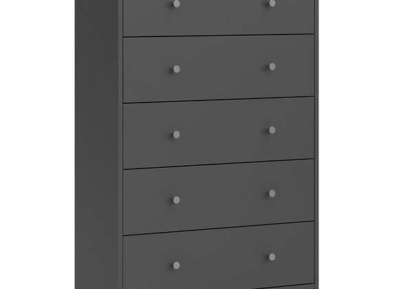 Chest of 5 Drawers in Grey