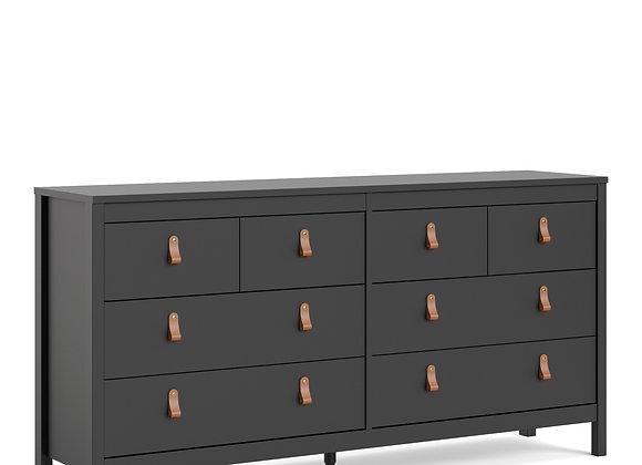 Barcelona Double dresser 4+4 drawers in Matt Black