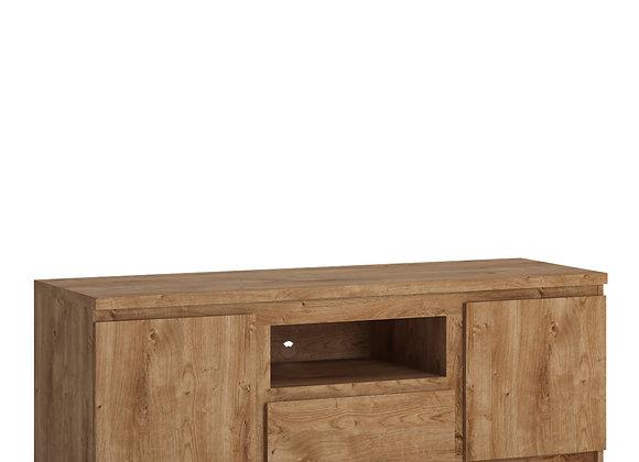 Fribo 2 door 1 drawer 136 cm wide TV cabinet in Oak