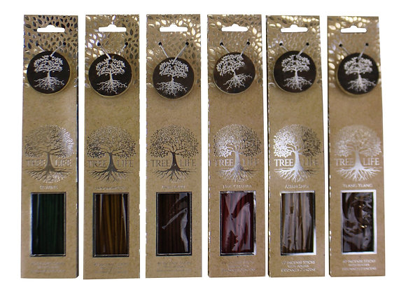 Set of 6 Fragranced Incense Sticks With Holders, Tree Of Life Design