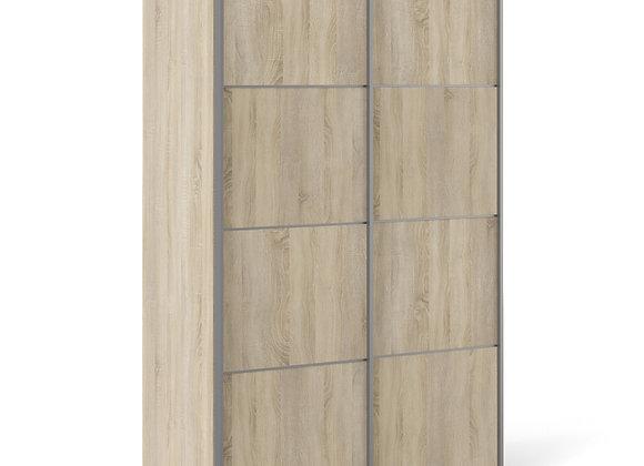 Sliding Wardrobe 120cm in Oak with Oak Doors with 2 Shelves