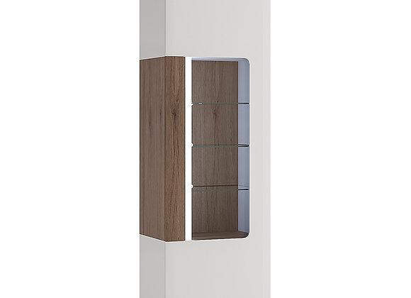 Tall narrow glazed display cabinet with internal shelves (inc Plexi Lighting)