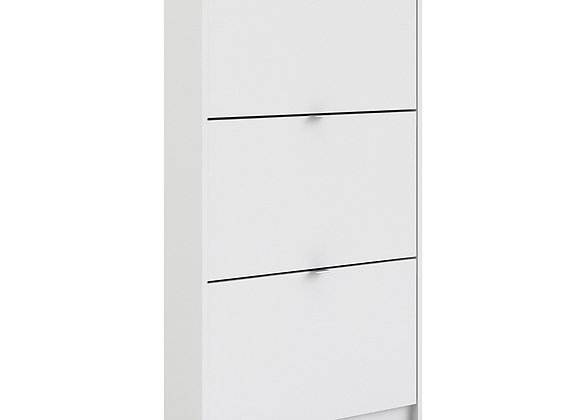 Shoe cabinet  w. 3 tilting doors and 1 layer