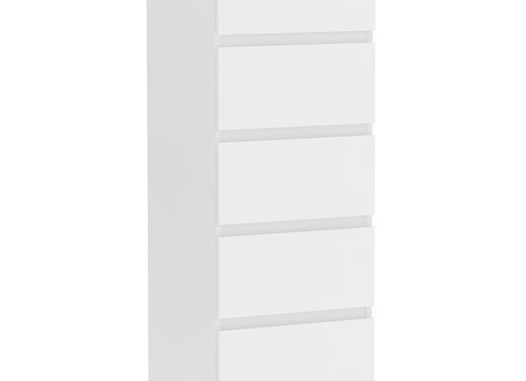 Narrow Chest of 5 Drawers in White