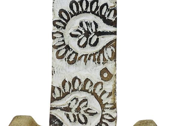 Hand Carved Wooden White Flower Letter I