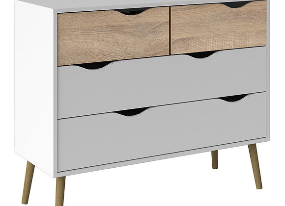 Chest of 4 Drawers (2+2) in White and Oak