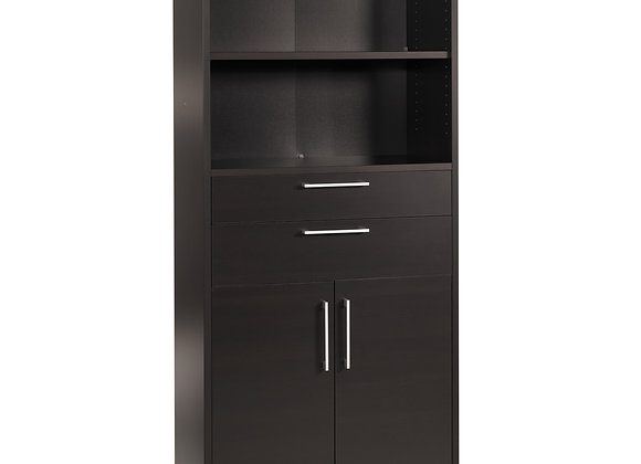 Prima Bookcase 4 Shelves with 2 Drawers and 2 Doors in Black woodgrain
