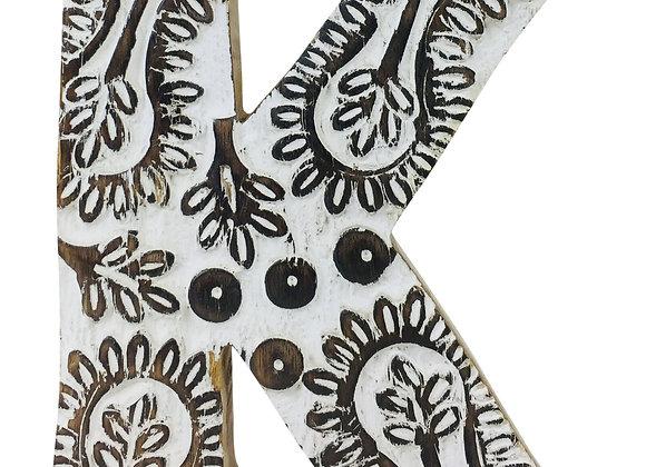 Hand Carved Wooden White Flower Letter K
