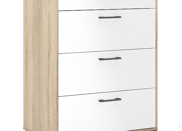 Chest of 4 Drawers in Oak with White High Gloss
