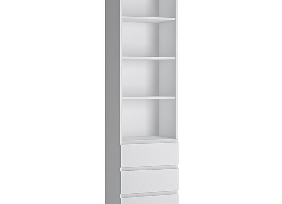Fribo Tall narrow 3 drawer bookcase in White