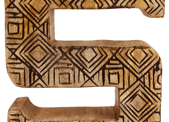 Hand Carved Wooden Geometric Letter S