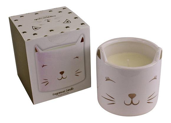 Fragranced Candle in Ceramic Cat Pot, Fresh Linen