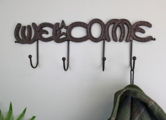 Rustic Cast Iron Wall Hooks, Welcome