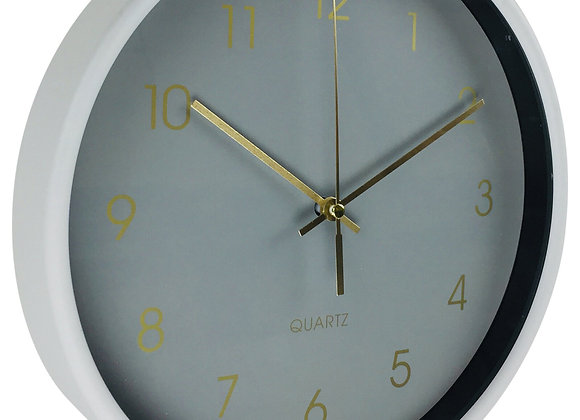 Round Wall Clock In Grey 25cm