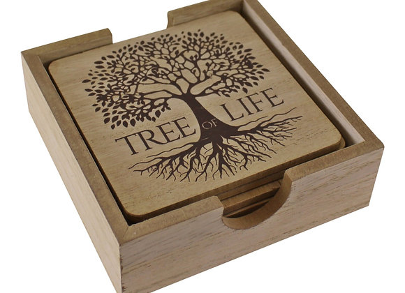 6 Piece Tree Of Life Coaster Set